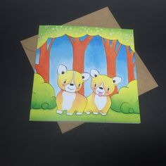 New to PlayfulStories on Etsy: Corgi Puppies Greeting Card - Birthday Easter Mother's Day Wedding Engagement Love Anniversary Good Luck Corgis Rabbit Bunny (3.50 GBP)