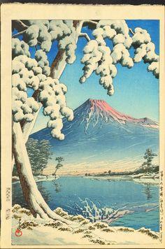 Hasui Kawase Woodblock Print - Mt. Fuji after Snow