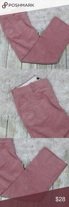 """J. Crew Sammie Pant in Corduroy Crop F5664 2016 J. Crew Women's Sammie Pant in Corduroy.  Size 4.  Color is Pale Rose.  Style F5664 from 2016.  Cropped.  98% cotton, 2% elastane.  Machine wash.  In good, preowned condition with no flaws noted.  No trades, offers welcome.  Measures approximately 15.75"""" at waist, 9.5"""" rise, 26"""" inseam.  From online:  Meet Sammie: Our new favorite pant features a slightly higher waist and a cropped, kicky hem (that's not too kicky). This version is crafted in a…"""