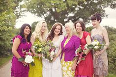 Gorgeous palette of bridesmaids dress captured by Sarah Gawler Photography | onefabday.com