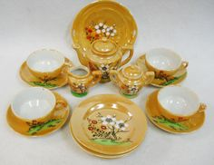 Vintage Hand Painted Lusterware Japan Child's Toy Dishes 18 pc. Tea Set for 4 in   eBay
