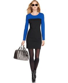 long sleeved colorblocked Michael Kors dress