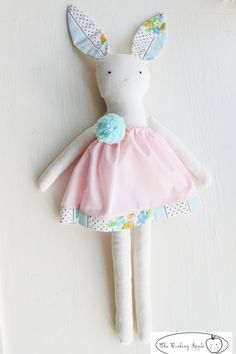 Lucy Bunny: Handmade Bunny Made With Vintage Fabrics. $40.00, via The Winking Apple.