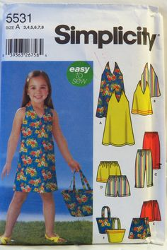 Simplicity 5531 Child's Dress or Top, Capri Pants, Shorts, Skort and Bag