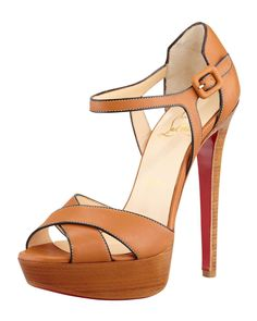 Christian Louboutin Sporting Buckle Ankle-Wrap Platform Sandal, Fauve on Wantering