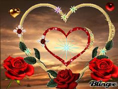 One big heart. Inside it is a RED heart and some little hearts outside the big heart. All of them sparkle. I Love Heart, Love Rose, My Love, Beautiful Love Pictures, Love Images, Animation, Video Message, Corazones Gif, Animated Heart