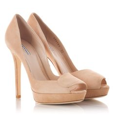 0dd0d01bff54 Stiletto heel peep-toe pumps in beige suede leather upper. Fratelli Karida
