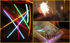 bonfire night sensory - glow sticks, sparklers & tinsel