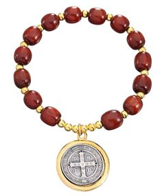 Wooden Beads St Benedict Stretch Bracelet with Two Tones Color Medal -- Read more reviews of the product by visiting the link on the image.