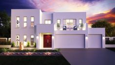 Three car front-entry garage. Sienna Lee Model. Designed by Sarpel Homes. NSW, AU http://www.sarpelhomes.com.au/  (Click on photo for larger image.) Photo found here: http://www.sarpelhomes.com.au/Sarpel-Celeste-Design.html