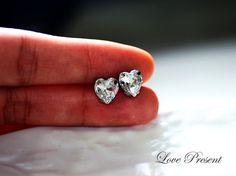 Grand Princess Heart Swarovski Crystal Stud Bridal by LoloBridal, $12.90