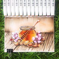 #honey #sweet #jar #almonds #tasty #thailand #phuket #markerart #copic #sketch green, travel, journal, sketchbook by @art.is.journey