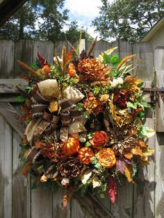 """FRENCH ROAST""  FALL, TUSCAN, FRENCH COUNTRY, AUTUMN, DOOR WREATH"
