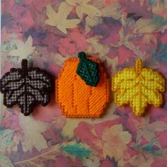 Plastic Canvas: Autumn Leaves and Pumpkin Magnets (set of 2 leaves and 1 pumpkin) by ReadySetSewbyEvie, $5.00