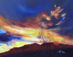 Artwork >> Aimetti Sylvain >> Dusk Planaise#artwork, #masterpiece, #oil, #painting, #canvas, #nature, #sky, #trees