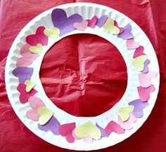 Valentine Heart-Wreath-Craft-For-Kids Could be used for any holiday!