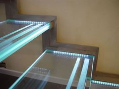 Bespoke Glass Staircase LEDs Staircase shown - Gomera Double laser cut stainless steel structure with, toughened, triple laminate glass treads. Acid etched glass nosings with LED lighting. For further information please contact our sales line on 0845 456 New Staircase, Interior Staircase, Floating Staircase, Staircase Design, Staircase Ideas, Staircase Glass, Glass Stairs Design, Glass Railing, Stair Railing