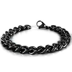 Crucible Men's High-polish Black-plated Stainless Steel Curb Chain Bracelet | Overstock.com