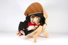 think & shift forms molded plywood hideaway chair for children
