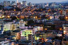 Cheongju, South Korea - June 11, 2017: Night view of Cheongju city