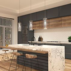 The Essence integrated LED pendant is the perfect solution for any kitchen or dining room place it above the kitchen island dining table and sloping ceilings This versatile fixture can be used in solo or in group Kitchen Room Design, Home Decor Kitchen, Interior Design Kitchen, New Kitchen, Home Kitchens, Kitchen Cupboard, Kitchen Ideas, Kitchen Island Dining Table, Dining Room