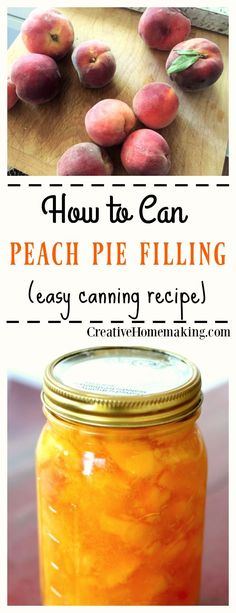 Easy recipe for the best homemade peach pie filling. Easy tips for canning peach pie filling from fresh peaches to use in baking and your favorite desserts. How to can homemade peach pie filling, just like grandma used to make. Canning Peach Pie Filling, Canning Peaches, Canning Apples, Canning Vegetables, Canning Tomatoes, Cheesecake In A Jar, Canned Food Storage, Canning Recipes, Canning Tips