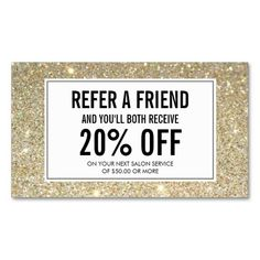 Eyelashes with Gold Glitter Salon Referral Card Business Card