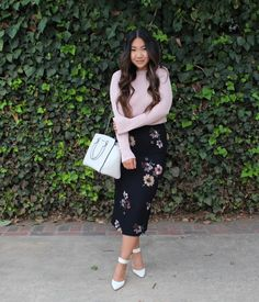 Who What Wear Black Floral Midi Pencil Skirt, Pink Bell Sleeve Sweater , white ankle strap pumps for today's modest church outfit. #SundayBest #ChurchOutfit #LdsBlogger #ModestOutfit #SundayBest #ChurchDress #ModestChurchOutfit #Blogger #fashionblogger #MidiDress #LDS #Mormon #OOTD #WhatIWore #OutfitInspiration