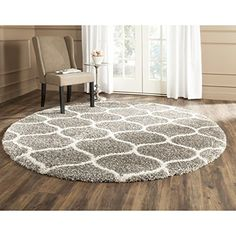 Safavieh Hudson Shag Collection SGH280B Grey and Ivory Round Area Rug, 7 feet in Diameter (7' Diameter)