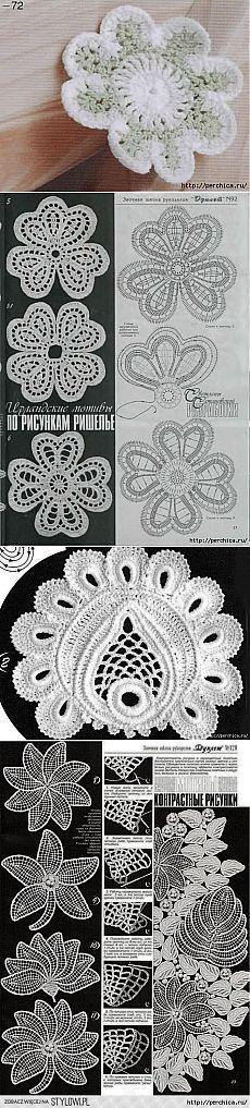 Схемы цветов и листьев ирландского кружева