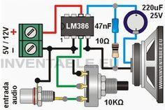 """LM386 представляет собой небольшой и практичный встроенный 8 patitas, что требует очень мало внешних компонентов для работы усилителя. Схема шоу позволили нам собрать """"на лету"""" проверить усилитель с коэффициентом усиления 20 и мощностью 1/2 Ватт (на самом деле между 0.3W и 0.8W на основе напряжения питания и импеданс громкоговорителя). Схема моно для стерео версии требуется, чтобы играть все, за исключением двух потенциометра должен быть один, но дважды. Во избежание фонового шума я советую…"""
