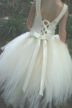 Reserved for Danielle Nieto-Ivory Flower Girl Tutu Dress w the Original Detachable Train-Many Colors