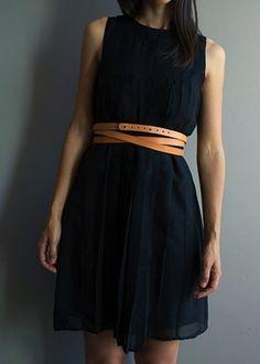 Navy dress, brown belt