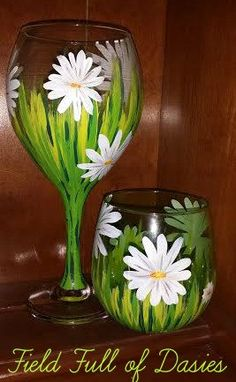 Hand Painted Field or Garden of Daisies Wine Glass by LindseyRaye, $16.00 - So simple - so beautiful