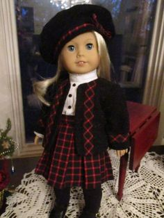 """Historic Doll Outfit with Sweater and Pleated Skirt to fit your 18"""" American Girl Doll by Emmakate0 on Etsy"""