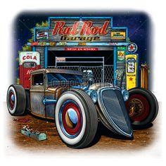 Rat Rod Hot Rod Garage Car T Shirt Mens Quality T Shirt 17680
