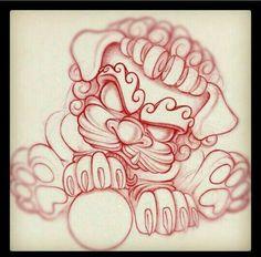 Luv luv luv this Foo Dog by Tim Stafford in Austin Texas! Pug tattoo flash art ~A. Flash Art Tattoos, Foo Dog Tattoo Design, Tattoo Designs, Tattoo Sketches, Tattoo Drawings, Future Tattoos, New Tattoos, Japanese Foo Dog, Dibujos Tattoo