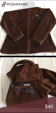 Patagonia Fleece Super soft brown retool full zip. This is an awesome Fleece that shows no signs of wear, clean, in great condition. There is a spot where the pile is low from an ember (see pic) it's not a hole, just a less fuzzy area on the sleeve. Smoke free, home. Patagonia Jackets & Coats