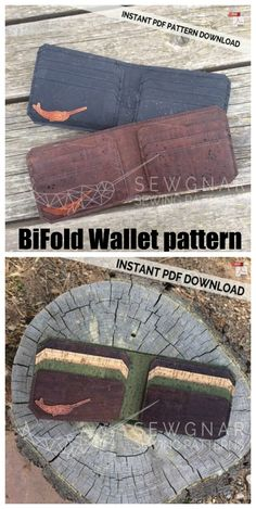 Cork wallet sewing pattern. Bifold Wallet pattern ideal for sewing with cork fabric, leather or vinyl. A smart unisex wallet with room for cards and notes. This project is ideal for a confident beginner sewer and those who are sewing a wallet with cork fabric for the first time.   Easy mans wallet to sew in leather or cork. #SewModernBags #SewAWallet #WalletSewingPattern #SewABag #BagSewingPattern #UnisexBagSewingPattern Boys Sewing Patterns, Bag Patterns To Sew, Sewing Ideas, Sewing Projects, Sew Wallet, Fabric Wallet, Wallet Sewing Pattern, Simple Wallet, Cork Fabric