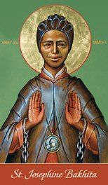Saint Josephine Bakhita was a Sudanese-born former slave who became a Roman Catholic Canossian nun in Italy, living and working there for 45 years. In 2000, she was declared a saint by the Roman Catholic Church