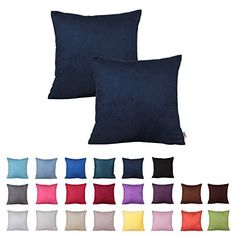 Queenie  2 Pcs Solid Color Faux Suede Series II Decorative Pillowcase Cushion Cover for Sofa Throw Pillow Case Available in 22 Colors  7 Sizes 1775 x 1775 Inch  45 x 45 cm Color 21 Navy Blue ** For more information, visit image link.-It is an affiliate link to Amazon. #DecorativePillowsInsertsCovers