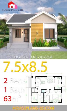 House plans with 2 bedrooms Gable roof - House Plans Sims House Plans, Small House Plans, House Floor Plans, Small House Decorating, Small House Design, Modern House Design, Affordable House Plans, Indian House Plans, House Construction Plan