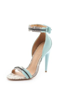 L.A.M.B. Jazmyn Sport Sandals - snakeskin and pastel perforated leather