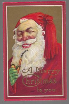 [30214] 1915 CHRISTMAS POSTCARD SANTA CLAUS SMILING WITH PIPE
