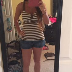 Brown and white striped tank from American Eagle Brown and white striped tank from American eagle American Eagle Outfitters Tops Tank Tops