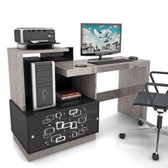 Mesa para Computador Vamol Link - Carvalho Ferroso/Preto - Mesas para Computador e Escrivaninhas no CasasBahia.com.br