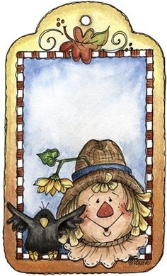 imagem de coupage clipart espantalho Autumn Tag