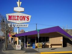 former Denny's Restaurant, now Milton's Restaurant, Central Ave, Historic Route 66, Albuquerque, NM, built in 1964. Style: Googie - Midnight Rider