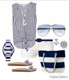 Nautical Outfits, Nautical Fashion, Blue Fashion, Nautical Style, Stylish Outfits, Cool Outfits, Summer Outfits, Stylish Clothes, Swag Style