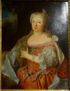 Marie-Anne, archiduchesse d'Autriche, reine de Portugal, à 46 ans, en 1729, par Carlos-Antonio Leoni d'après Jean Ranc